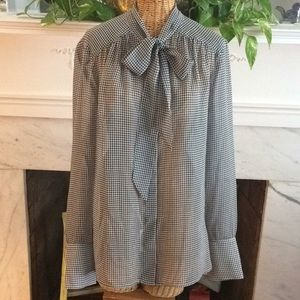 Brooks Brothers Houndstooth Silk Blouse